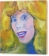 70's Blue Eyed Blonde Wood Print