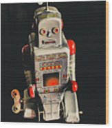 70s Mechanical Android Bot  Wood Print