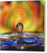 70's Water Drop Wood Print