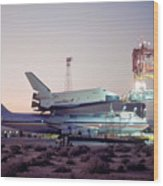 747 With Space Shuttle Enterprise Before Alt-4 Wood Print