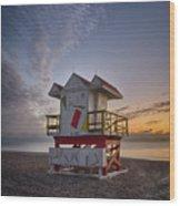 7898- Miami Beach Sunrise Wood Print