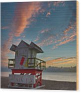 7944- Miami Beach Sunrise Wood Print
