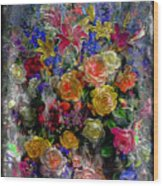7a Abstract Floral Painting Digital Expressionism Wood Print