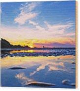 Beach Skyset Sunset On A Perranporth Beach Cornwall Wood Print