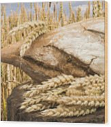Bread And Wheat Cereal Crops. Wood Print
