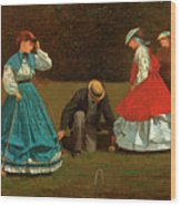 Croquet Scene Wood Print