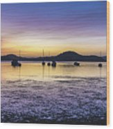 Dawn Waterscape Over The Bay With Boats Wood Print