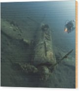 Diver Explores The Wreck Wood Print