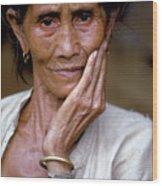 Elderly Woman In Laos Wood Print