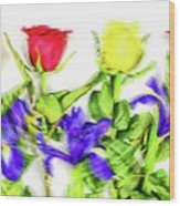 Flower Frame Border Wood Print
