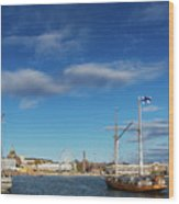 Old Sailing Boats In Helsinki City Harbor Port Finland Wood Print