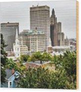 Providence Rhode Island City Skyline In October 2017 Wood Print