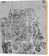San Francisco City Street Map Wood Print