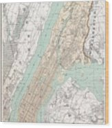 Vintage Map Of New York City  Wood Print