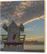 8003- Miami Beach Sunrise Wood Print