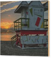 8097- Miami Beach Sunrise Wood Print
