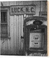 Luck Gas Pump Wood Print