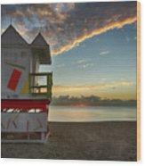8990- Miami Beach Sunrise Wood Print