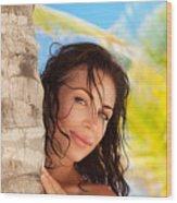 Beautiful Woman On The Beach Wood Print