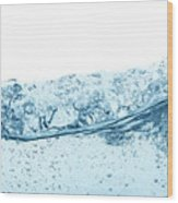 Blue Water Wave Abstract Background Wood Print