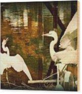 9 Egrets Wood Print