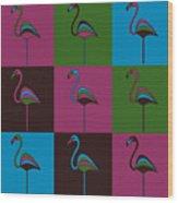 9 Flamingos Wood Print