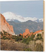 Garden Of The Gods And Pikes Peak Wood Print