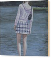 Girl In The Park Wood Print