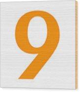 9 In Tangerine Typewriter Style Wood Print