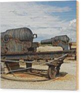 9 Inch Guns At Needles Old Battery Wood Print