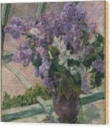 Lilacs In A Window Wood Print
