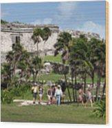 Mayan Temples At Tulum, Mexico Wood Print