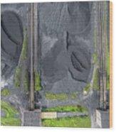Mining Excavator On The Bottom Surface Mine.  Wood Print