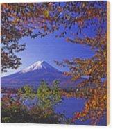 Mount Fuji In Autumn Wood Print