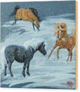 #9 - Ponies In Snow Wood Print