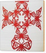 Red Butterfly-cross Wood Print