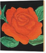 Red Rose, Painting Wood Print