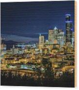 Seattle Skyline At Night Wood Print