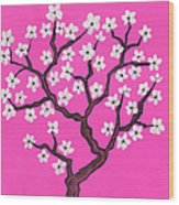 Spring Tree In Blossom, Painting Wood Print