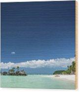 Station 2 Beach Area Of Boracay Tropical Paradise Island Philipp Wood Print