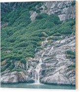 Waterfall In Tracy Arm Fjord, Alaska Wood Print