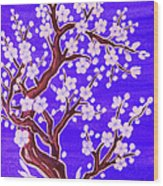 White Tree In Blossom, Painting Wood Print
