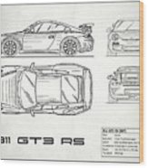 911 Gt3 Rs Blueprint - White Wood Print