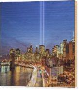 911 Tribute In Light In Nyc II Wood Print
