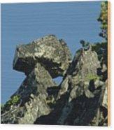 A Balancing Rock  Wood Print
