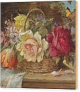 A Basket Of Flowers And A Butterfly Hans Zatzka Wood Print