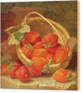 A Basket Of Strawberries On A Stone Ledge Wood Print