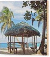 A Beach Cottage Wood Print