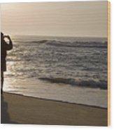A Beach Walker Photographs Sunrise Wood Print