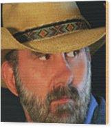 A Bearded Cowboy Wood Print
